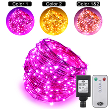 Dual Color LED String Lights Changing Plug in, 99Ft 300LEDs 10 Modes Copper Wire Decorative Fairy Lights+Remote control