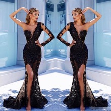 Stunning Black Lace Mermaid Evening Dress Sheer Plunging Neck Long Sleeves Split Side Formal Dress Vestido De Festa Sequined sweet plunging neck lace spliced cross back midi dress for women