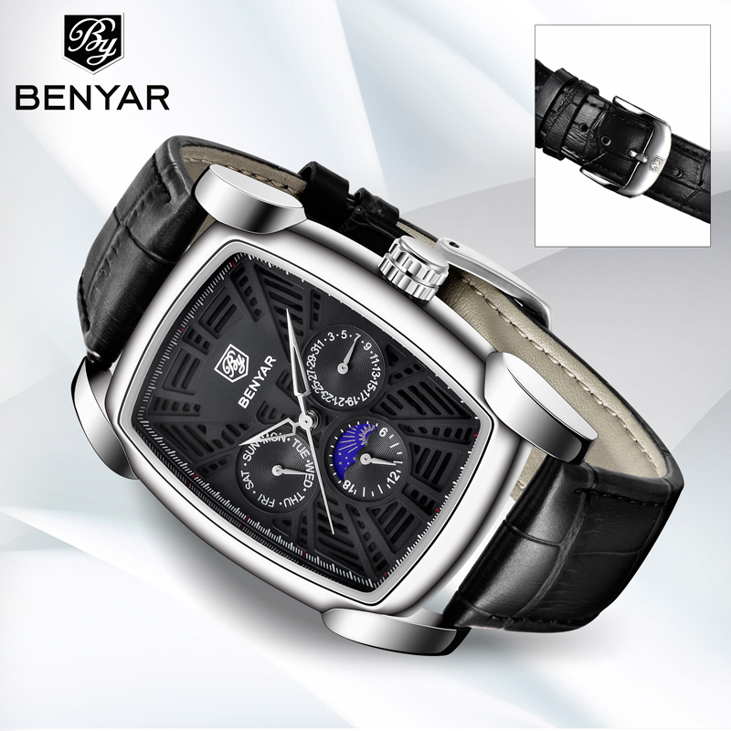 BENYAR Men 39 s Watches Quartz Wrist Watch Men Top Brand Luxury Moon Phase Business Leather Male Watches Clock Montre Homme 2019 in Quartz Watches from Watches