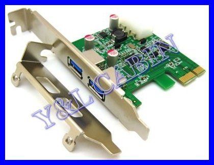 2 Port USB 3.0 USB3.0 HUB to PCI-E PCI Express Card Adapter Converter Renesas D720202 5.0G 5.0Gbps w/ Low Profile Bracket