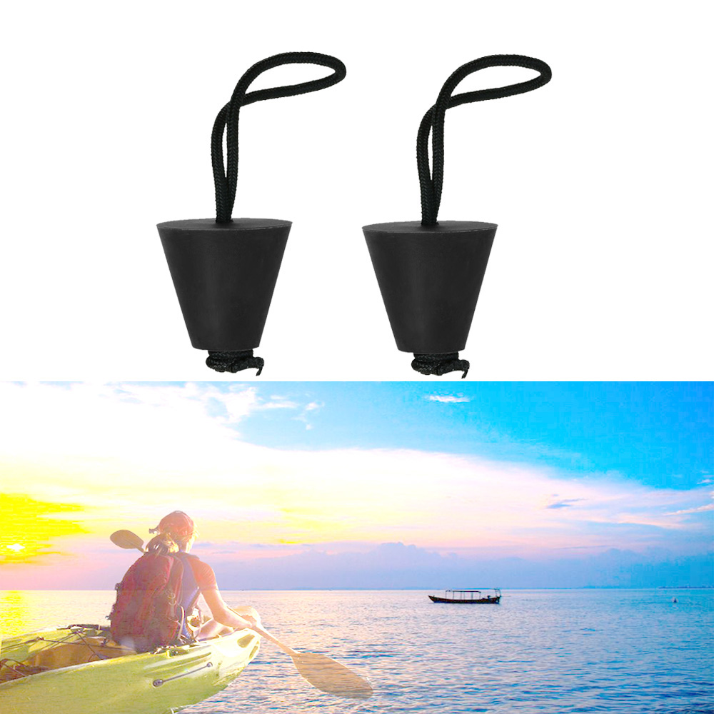 2PC Kayak Canoe Marine Boat Dinghy Scupper Plug Drain Holes Stopper Kit With Cord Rope