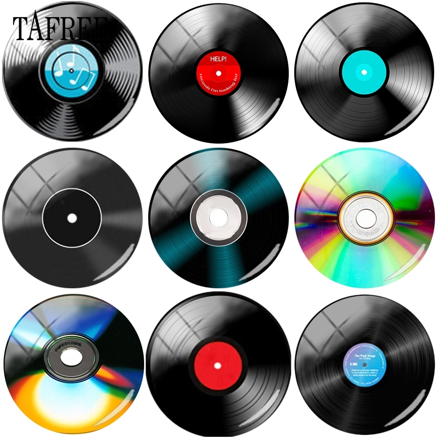 TAFREE Fashion Compact Disc Picture Glass Cabochon Cover Beads 12mm-20mm DIY Ornament For Keychains Necklace
