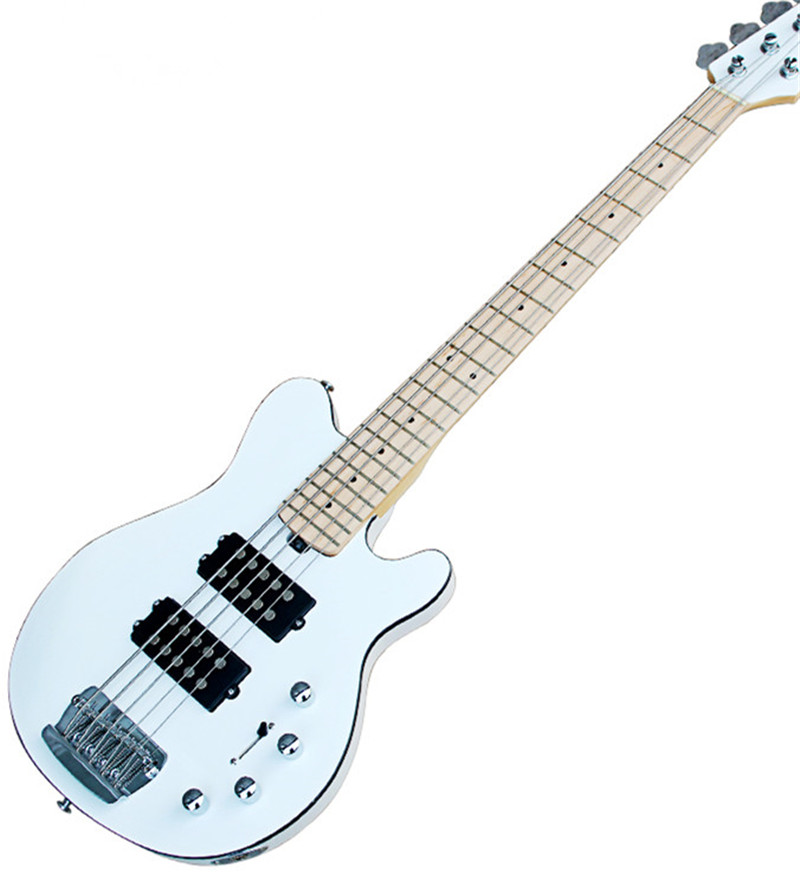 factoru white 5 strings electric bass guitar with 2 pickups maple fretboard chrome hardwares. Black Bedroom Furniture Sets. Home Design Ideas