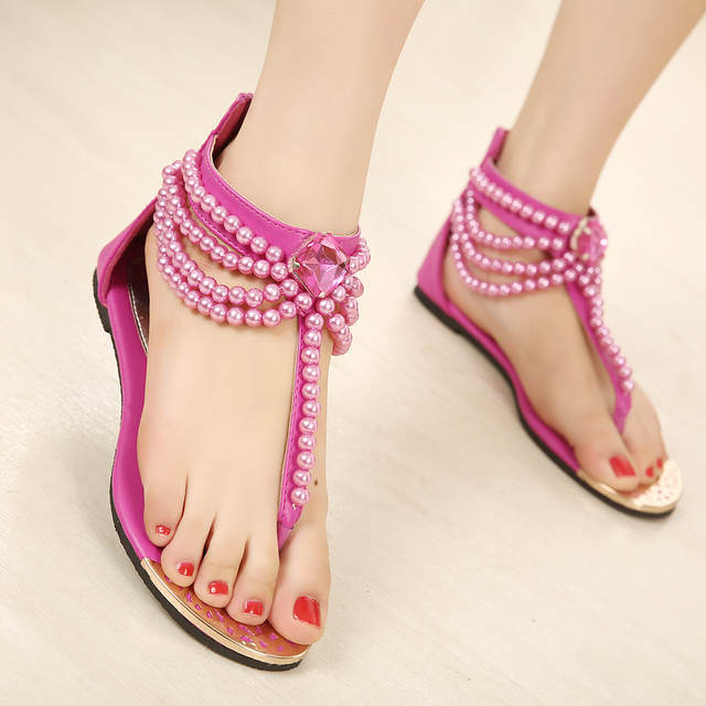 7402b3c14 placeholder famous designer women sandals pearl flip flops Bohemia beading  gladiator sandals women platform sandals crystal sandalias