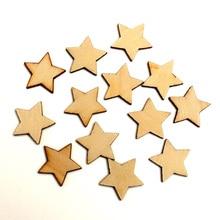 100pcs Wood Star Craft Embellishments MDF Wooden Cutout Flatbacks Scrapbooking For Cardmaking DIY Art Wedding Decoration