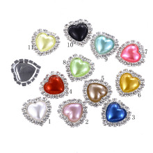 ZMASEY Heart Pearl Buttons 10Pcs/Lot  18mm Rhinestones Button Mix-Colour Diy Girl Hair Wedding Decoration Accessory Wholesal
