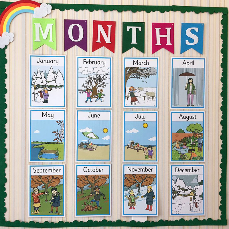 12Pcs/Set Learn English Months Year Flash Card Teaching Aid English Poster A4 Big Card Educational Toys For Children Kids Gifts
