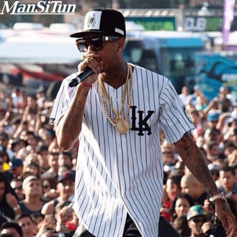 New Summer Style Mens   T     shirts   Fashion 2019 Streetwear Hip Hop baseball jersey striped   shirt   Men Clothes tyga M-XXL