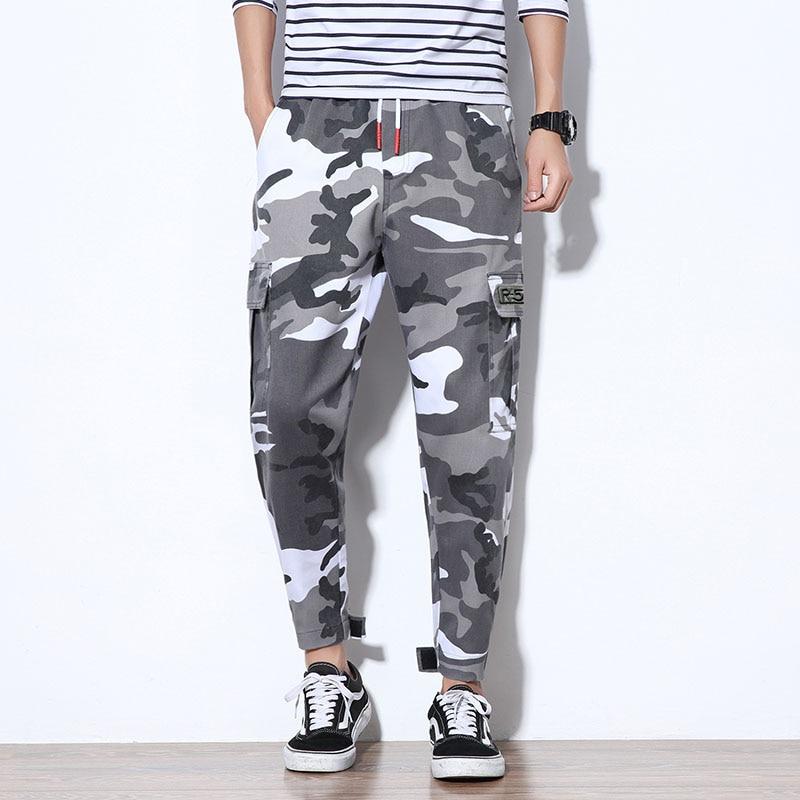 Grijze Joggingbroek Heren.Hip Hop Harembroek Streetwear Camouflage Broek Geel Grijs Paars
