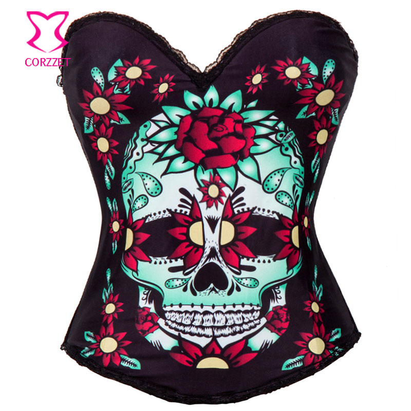 Floral & Skull Pattern Burlesque Corsage   Bustier     Corset   Top Sexy Lingerie   Corsets   and   Bustiers   Steampunk Rave Gothic Clothing