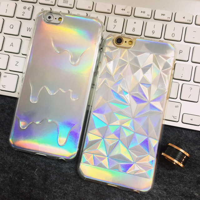 New For iPhone 7 7plus 6 6splus Case Cover Transparent with a paper inside ice cream Shinning Effection soft cases free shipping
