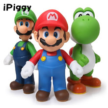 Super Mario Action Figure Toy Luigi Mario Action Figure Toys 5'' Super Mario Figure Model Doll Toy For Children 3pcs/lot PVC(China)