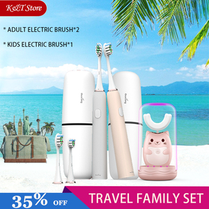 Image 1 - Family Travel kit Electric Toothbrush Rechargeable Tooth Brush Electric Automatic Wireless Charging sonic kids Electric Brush