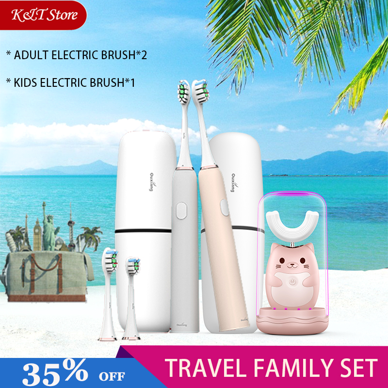 Family Travel kit Electric Toothbrush Rechargeable Tooth Brush Electric Automatic Wireless Charging sonic kids Electric Brush image