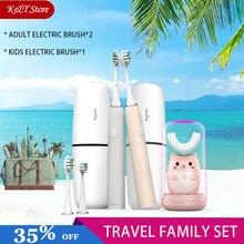 Kit de voyage pour famille, brosse à dents électrique et Rechargeable, sonique et automatique sans fil pour enfants