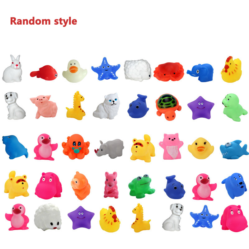 5pcs Small Animal Toys Soft Rubber Float Squeeze Sound Squeaky Bathing Water Toy For Pet Kids Random Style