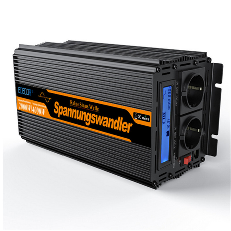 цена на EDECOA 2000w pure sine wave solar power inverter free shipping DC 24V to AC 220v 230v 240v power inverter peak 4000w
