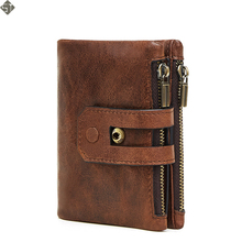 New Genuine Leather Wallet Men PORTFOLIO MAN Male Small Portomonee Vallet With Coin Purse Pockets Slim Rfid Fashion Mini Walet