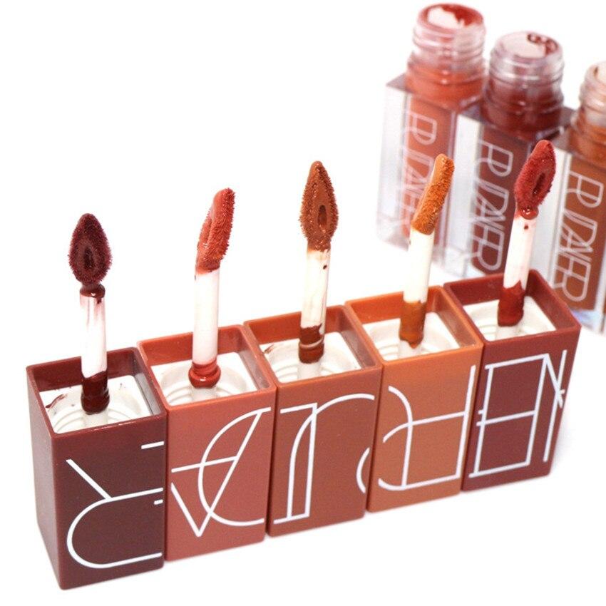 2017 NEW Brand 5 Color Matte Liquid Lipstick Set Nude Brown Chocolate Rose Lipstick Kit Lip Gloss Matte Lips Waterproof Pudaier