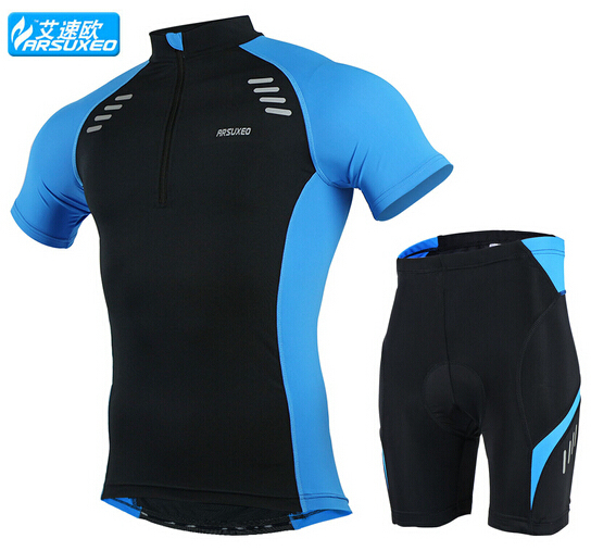 06911448b ARSUXEO Men s Summer Short Sleeve Cycling Jersey Set MTB Bike Bicycle City  Road Ridding Clothing Shirt