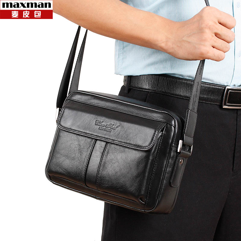 2018 New fashion genuine leather small messenger bags for men crossbody business shoulder bags new style male cowhide handbags