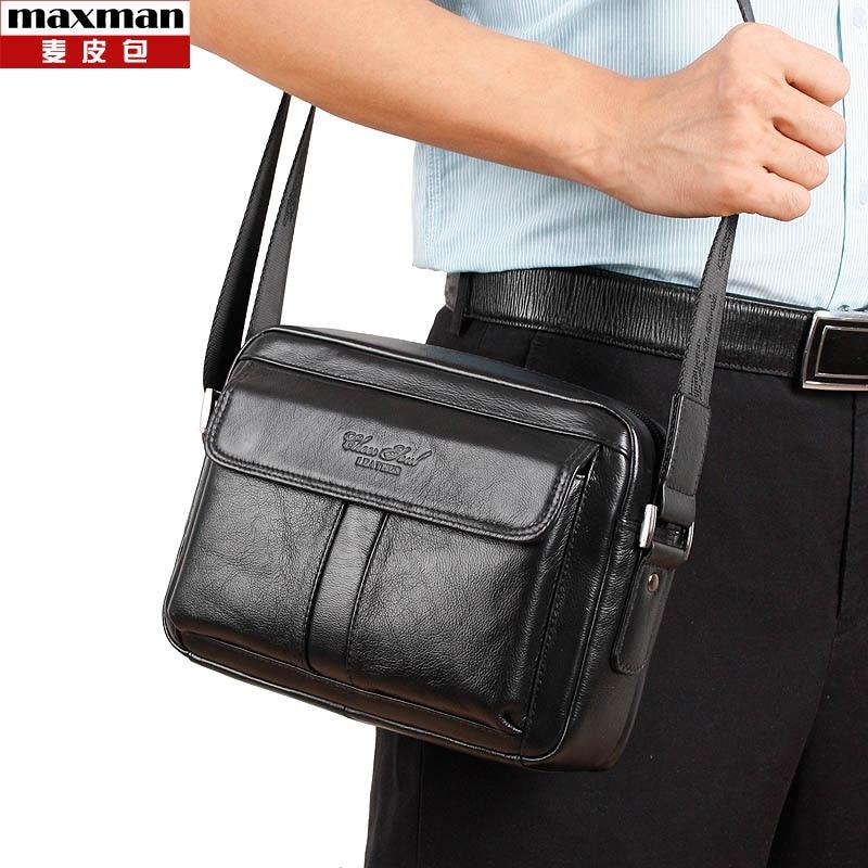 2018 Nueva moda de cuero genuino pequeñas bolsas de mensajero para hombres bolsos de hombro de negocios de crossbody nuevo estilo de cuero de vaca bolsos masculinos