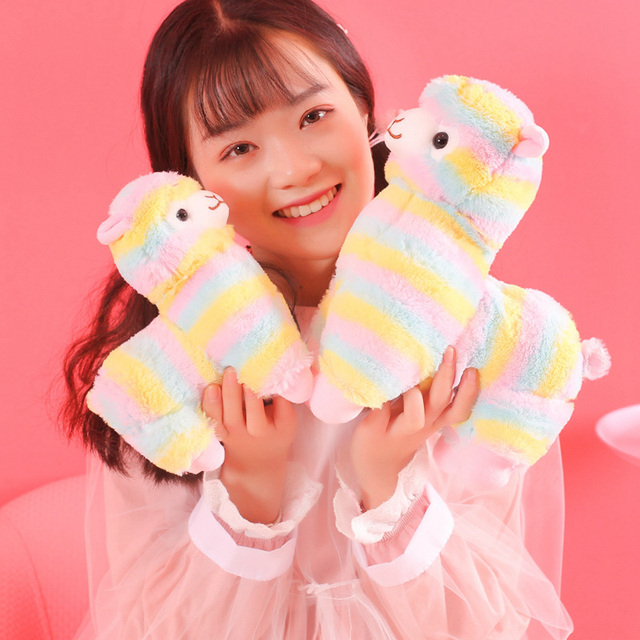 Juguete de felpa de Alpaca arcoíris de 28/35/50cm Vicugna PACOS Peluche de oveja Alpacasso japonés, regalos de peluche de Llama para niños y niñas