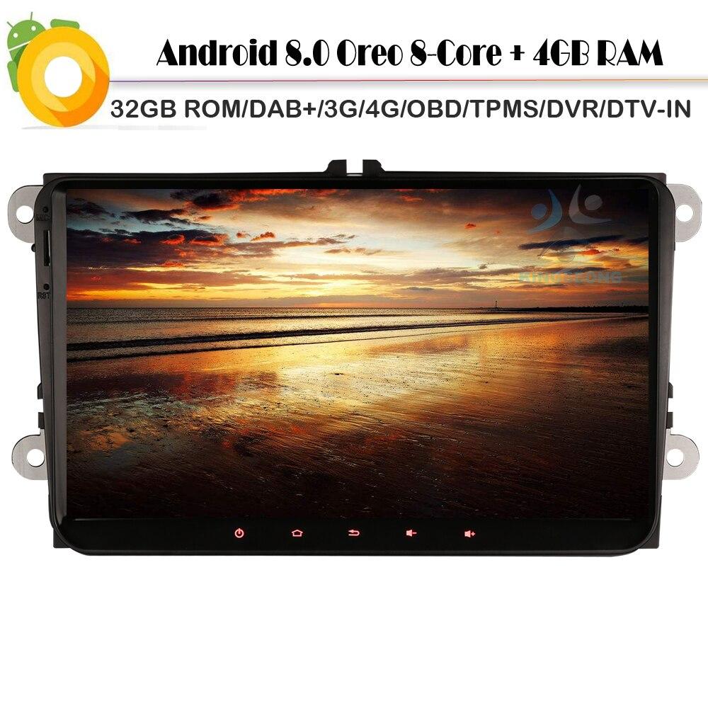"9 ""Android 8,0 Octa Core стерео gps навигации для VW Magotan Scirocco Mk3 поло MK5 DAB + авторадио 3g 4 г OBD WI-FI USB BT DVB-T"
