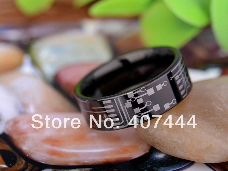 Бесплатная доставка YGK Jewelry Лидер продаж 8 мм Черный трубы плате LOTR Для Мужчинs Вольфрам обручальное кольцо из карбида ...