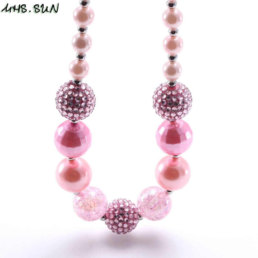Mhs. sun meninas chunky contas colar moda rosa estilo bebê criança contas colar charme na moda chunky bubblegum jóias mais novo
