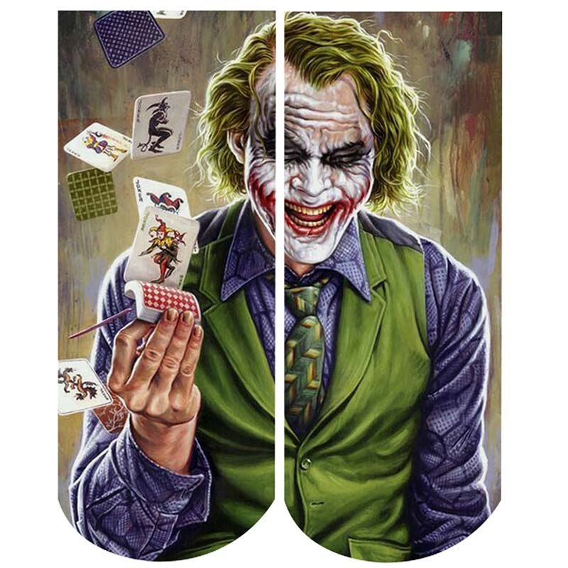 New Fashion Joker 3d Socks Funny Comics Character Joker With Poker Print Socks Men Women Unisex Sox calcetines mujer Dropship
