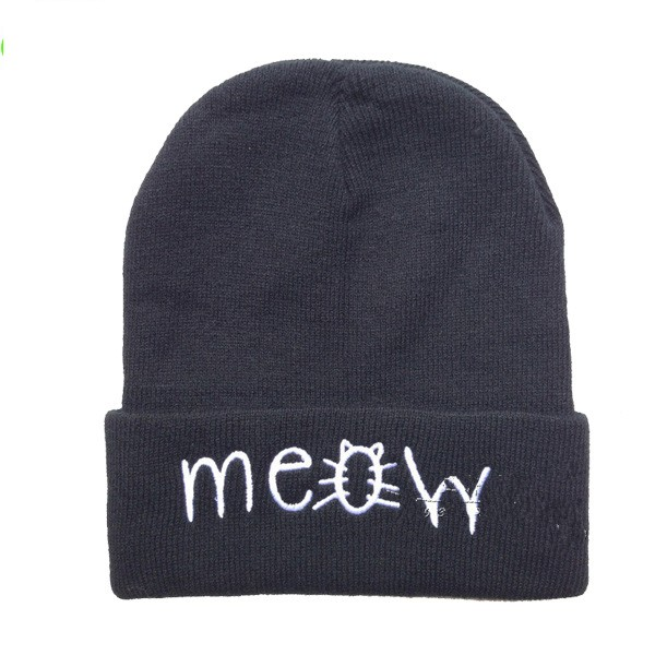 Beanie Fashion New 2017 Winter Hat Beanies MEOW Hip-Hop Cotton Knitted Hats Casual Caps Bone Men And Women Cap 2017 hot fashion women s cotton hip hop ring warm beanie cap winter autumn women knitted hats men beanies free shipping f0