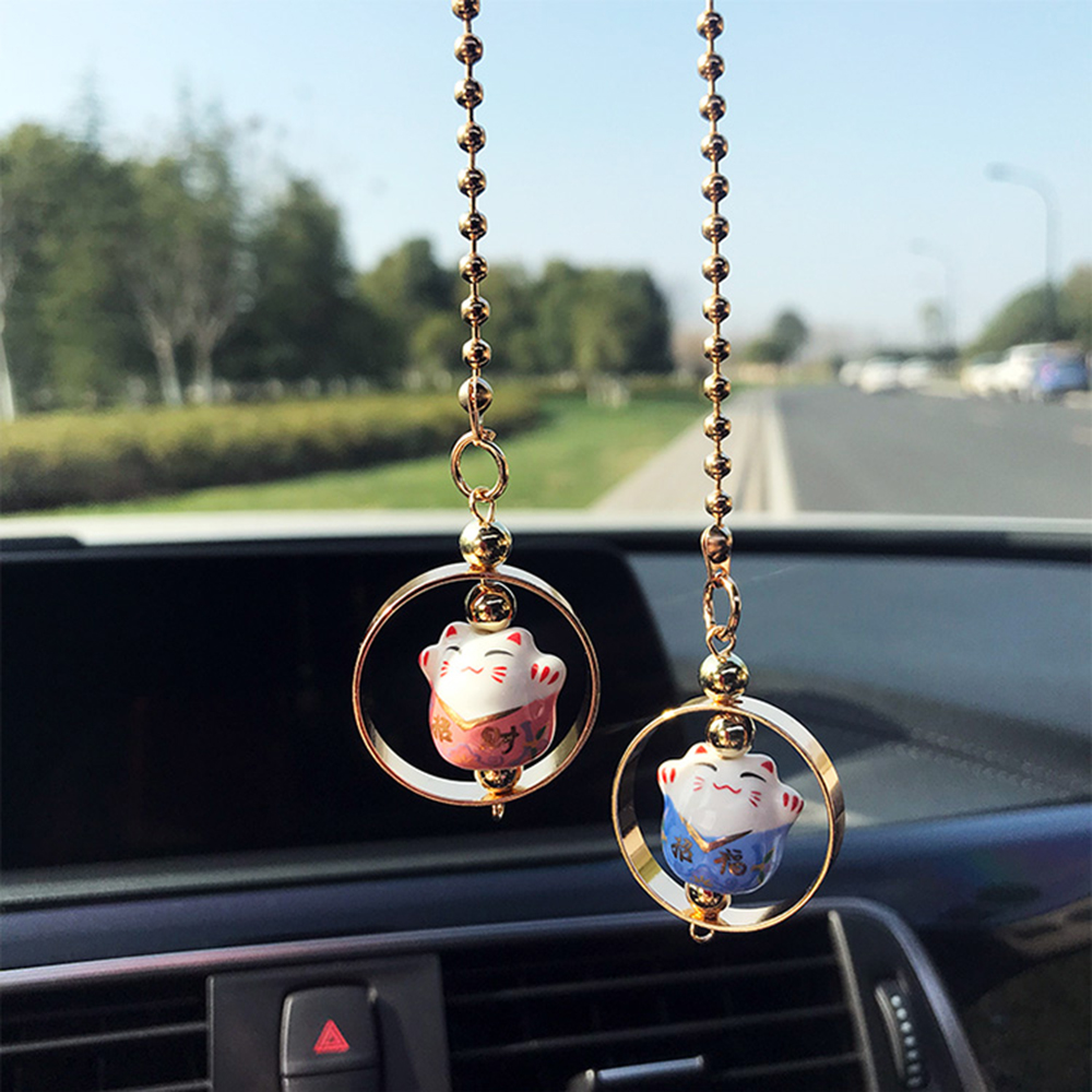 все цены на Car Pendant Lucky Cat Car Rearview Mirror Decoration Ceramics Alloy Hanging Ornament Automobile Dashboard Accessories Gift 60CM
