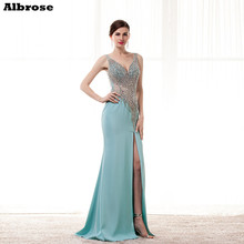 Luxury Fully Crystal Bling Mermaid Evening Dress Backless V Neck Beauty Evening Dresses Long Gown Formal robe de soiree