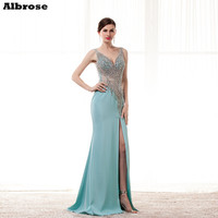 Hot Sale 2015 New Arrival Satin Evening Dress Mermaid V Neck Crystal Floor Length Pageant Gown