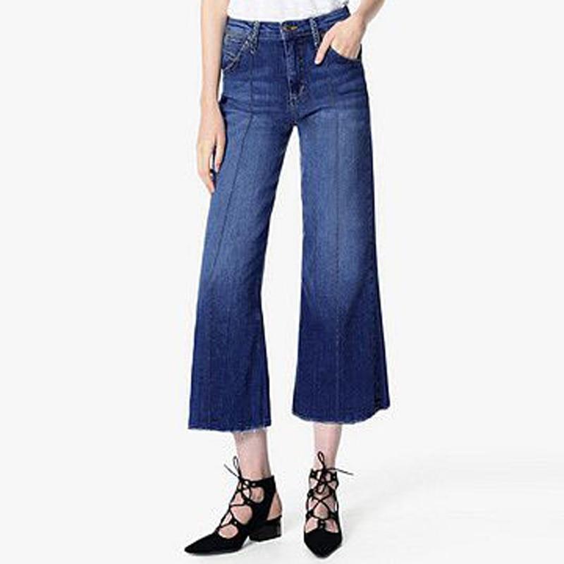 ФОТО European Runway Fashion Style Women High Waisted Wide Leg Jeans Trousers Women's Ankle Length Wide Leg Jeans