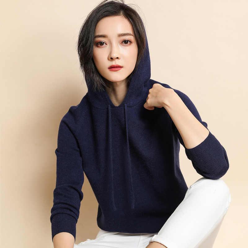 Kpop Hoodies Kazak Kadınlar 2018 Sonbahar bahar uzun kollu elbise Örme Katı Kaşmir Yün Kapşonlu Kazak Polerones Mujer Jumper