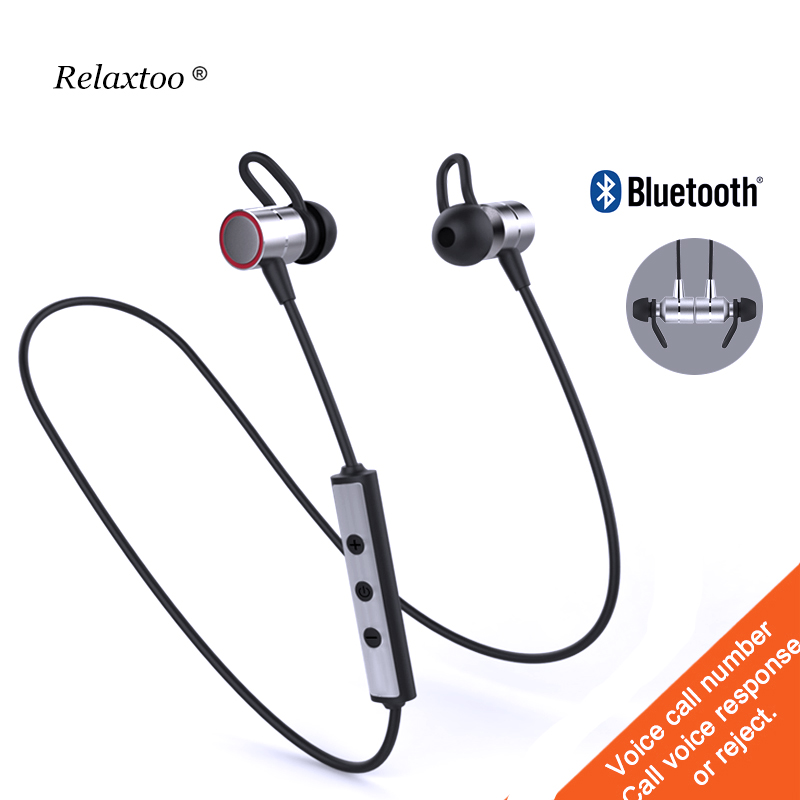 Metal Magnetic Wireless Bluetooth Earphones Sport In-Ear HiFi Bass Headset With Mic Earb ...