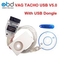 2017 Newly VAG Tacho USB V5.0 ECU Diagnostic Cable VAGTACHO 5.0 OBDII OBD2 ECU Chip Tuning Tool With USB Dongle Pin Code EEPROM