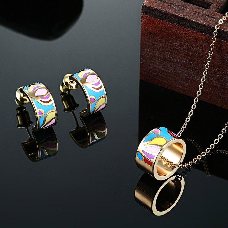 ba5dd5065cf0 Zlxgirl joyería pequeño esmalte colorido de acero inoxidable collar  pendientes conjuntos de joyería fina para mujer Boda nupcial conjuntos de  ...
