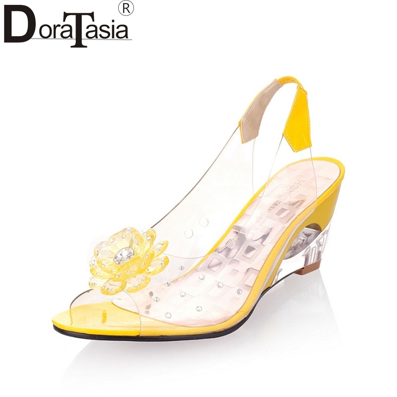 DoraTasia Brand New Big Size 34-43 Sexy Women Patent Upper Summer Sandals Women Open Toe Wedge High Heels Flowers Shoes Woman brand big size 42 43 beach shoes fashion transparent pvc butterfly flowers open toe wedges heels sandals women party dress pump