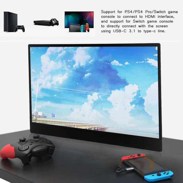 monitor 144hz 13 3'' 1920x1080 IPS Screen Game Portable HDMI Display  Monitor for PS4 for Xbox for NS