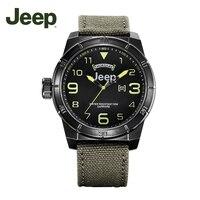 Jeep оригинальный Для мужчин часы Military Открытый Спортивные Для мужчин кварцевые часы Водонепроницаемый полотно холста JPW60402