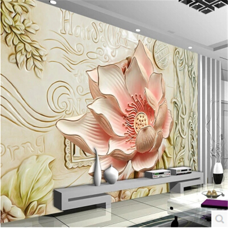 Custom Mural Wallpaper 3d Stereoscopic Relief Pearl: Beibehang Custom 3d Photo Wallpaper Relief Lily Magnolia