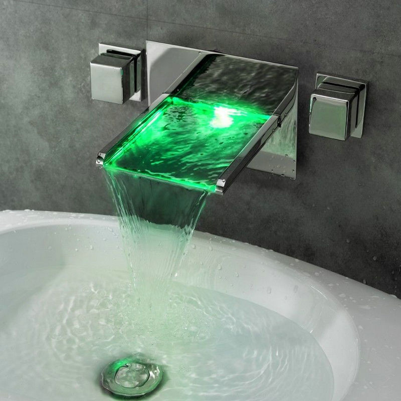 No Need Battery 3 Holes Wall Mounted LED Waterfall Faucets,Mixers & Taps LED Mixer Bathtub LED Faucet 3PCS Set JN6403