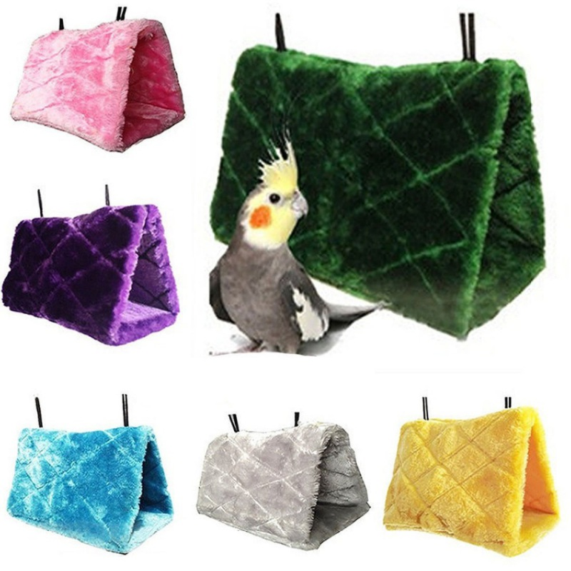 New Plush Bird Hanging Cave Cage Snuggle Happy Hut Tent Bed Bunk Toy Parrot Hammock for