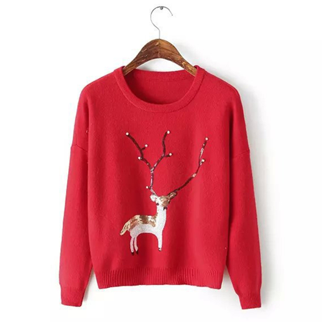 9e333e4e09 Christmas sweater for women 2018 autumn winter Cute elk Snow Pattern  patchwork ugly sweater knitted jumpers
