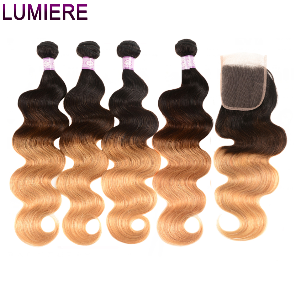Lumiere Hair Brazilian Hair Weave Bundles With Closure Ombre Body Weave Human Hair 4 Bundles With 4x4 Closure 1B/4/27 Non Remy