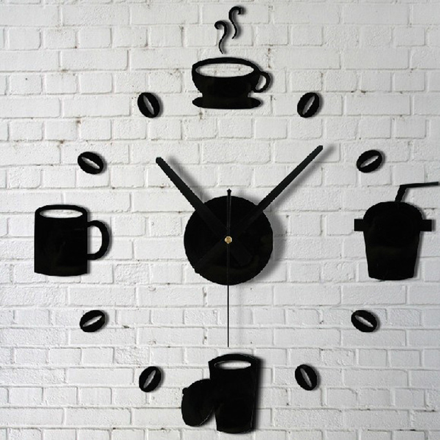 Aliexpresscom Buy Coffee Cups Kitchen Wall Art Mirror Clock