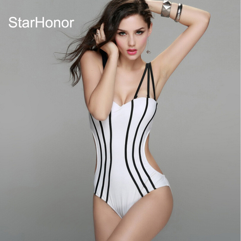 StarHonor 2017 Sexy Woman Solid Bandage One-Piece Suits Swimwear Tube Top Strapless Swimsuit Biquini Bikinis Set Push Up  Suit starhonor 2017 sexy woman print one piece suits swimwear retro halter swimsuit bandage biquini bikinis set push up bathing suit